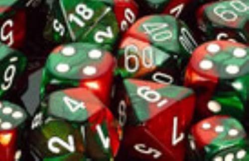 Chessex Polyhedral 7 Dice Set Green Red White