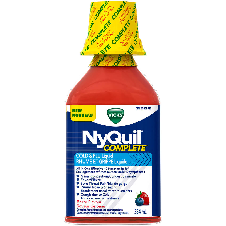Vicks Nyquil Complete Berry Flavor Cold & Flu Liquid 354ml Bottle