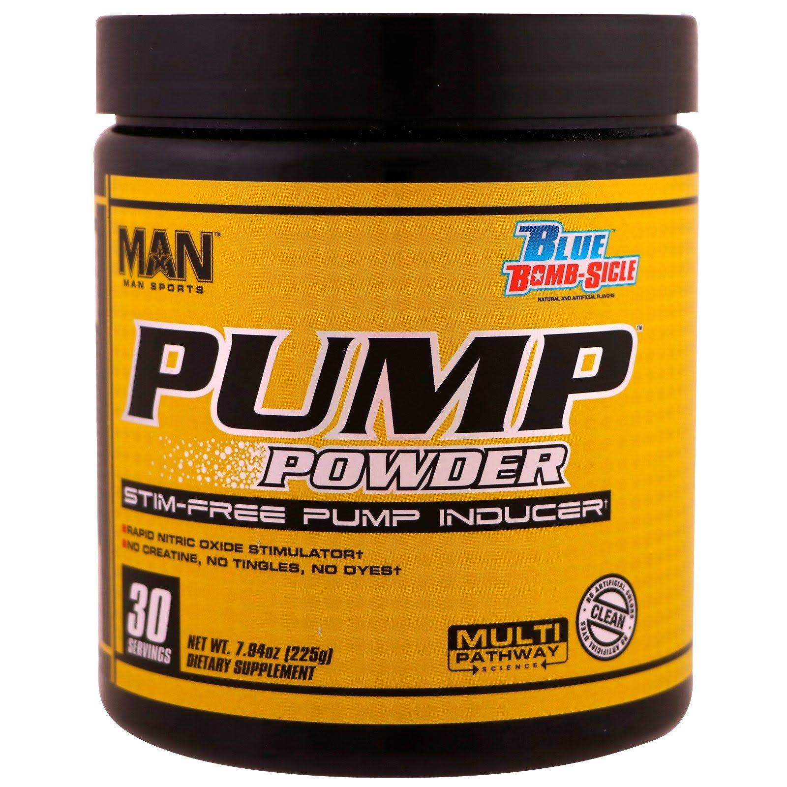 Man Sports Pump Powder Pre Workout Nitric Oxide Dietary Supplement - Blue Bomb Sicle, 30 Servings, 225g