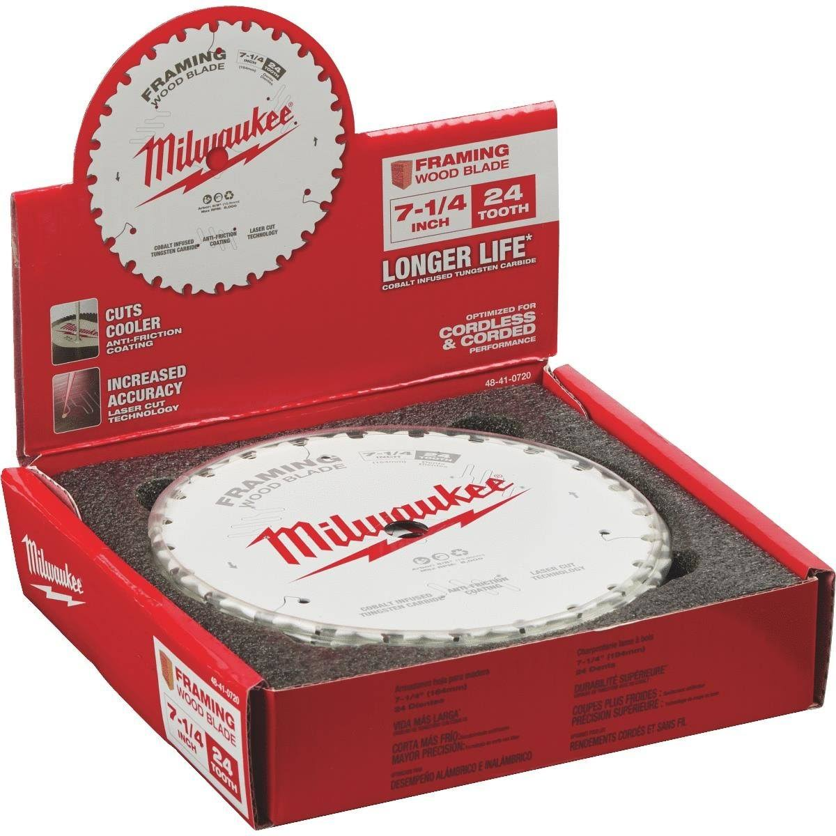 "Milwaukee 7-1/4"" Circular Saw Framing Blade 48-41-0720"