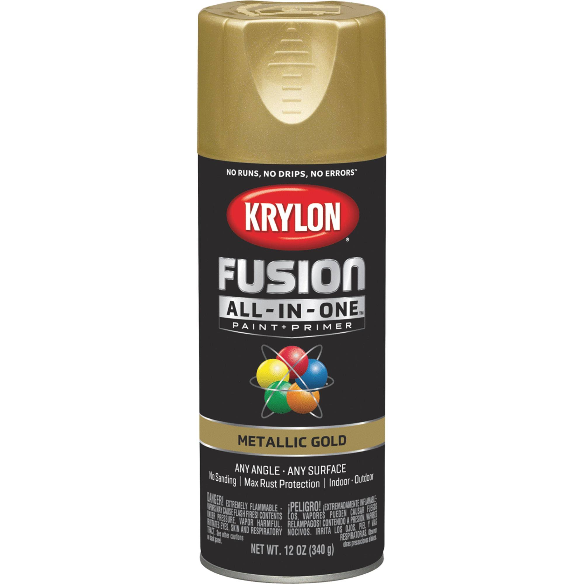 Krylon Fusion All In One Spray Paint and Primer - Metallic Gold, 12oz
