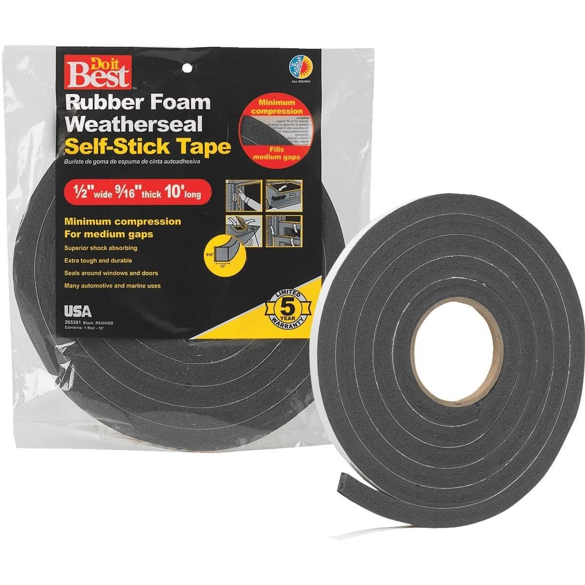 "Sponge Rubber Foam Weatherseal Tape - 1/2"" X 9/16"" X 10'"
