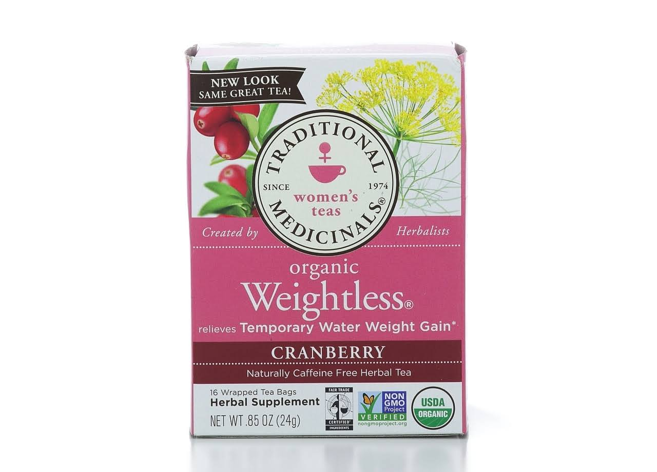 Traditional Medicinals Organic Weightless Tea - Cranberry, 16 Wrapped Tea Bags
