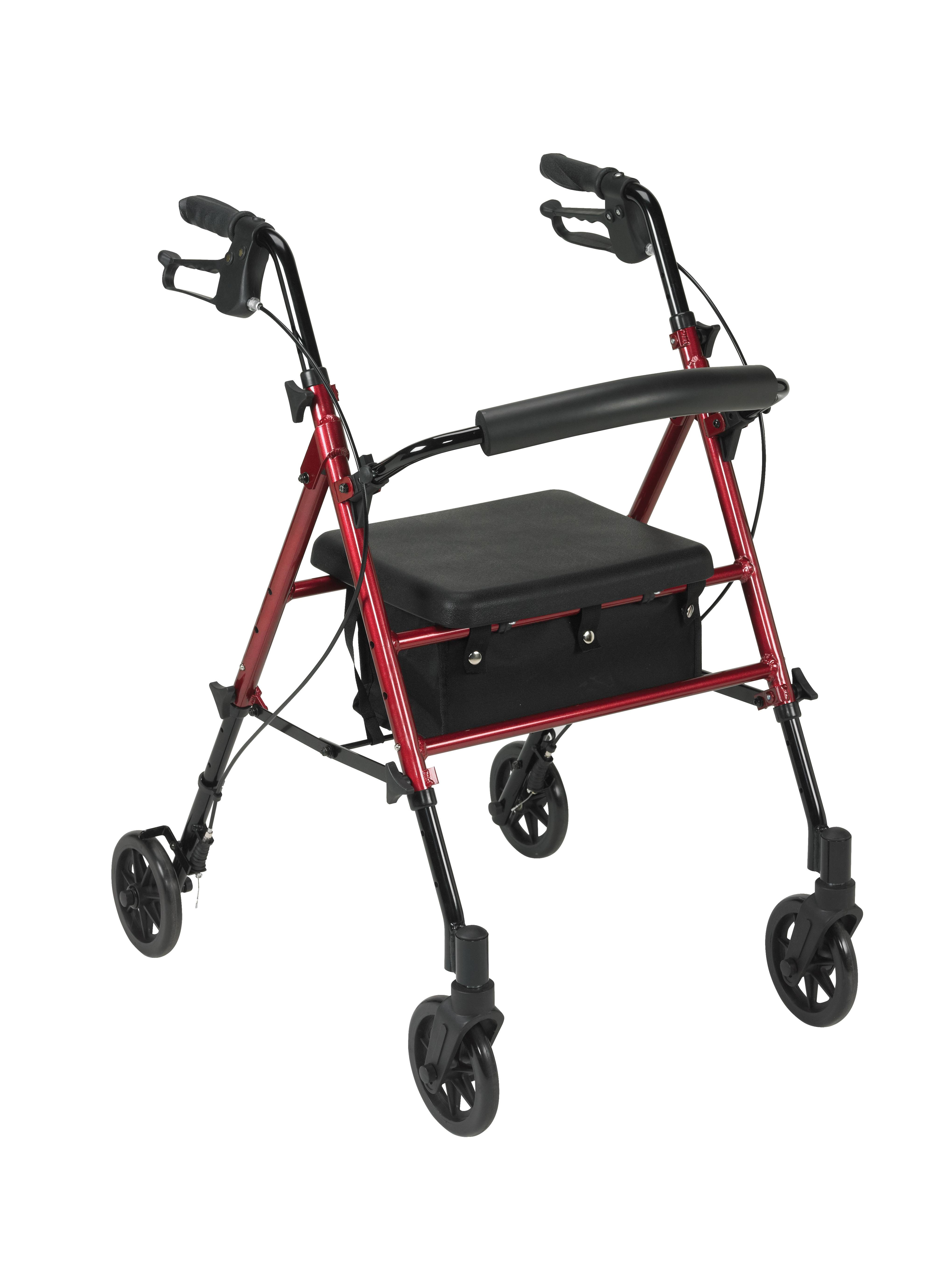 Drive Mimi Lite Push Brake 4-Wheel Rollator Walker - Red