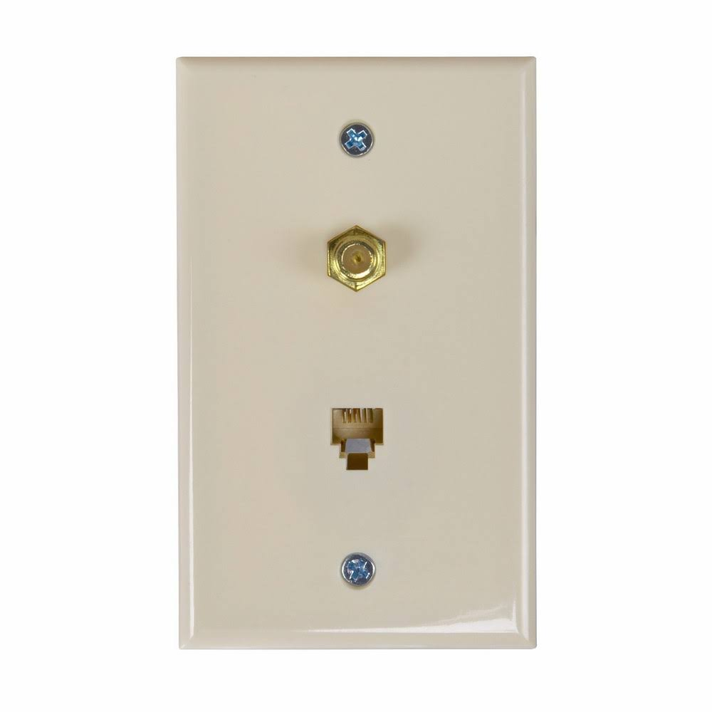 Zenith TW1002CPA Coax and Phone Wall Plate - Almond