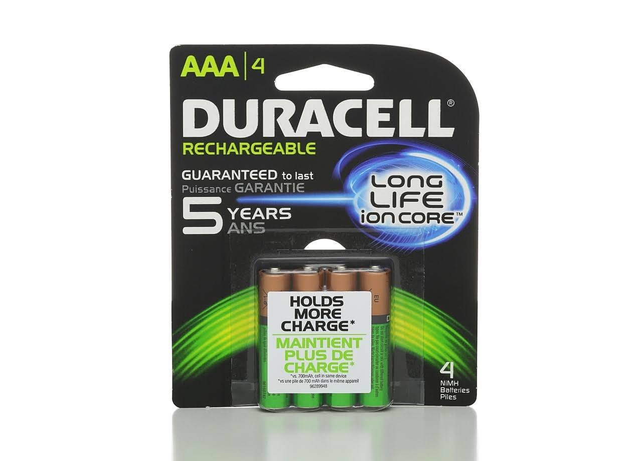 Duracell Rechargeable AAA NiMH Batteries - 4 Pack, 1.2V