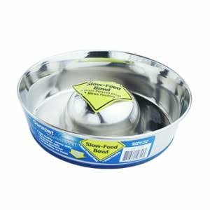 Durapet Slow Feed Dog Bowl - Small, Stainless Steel