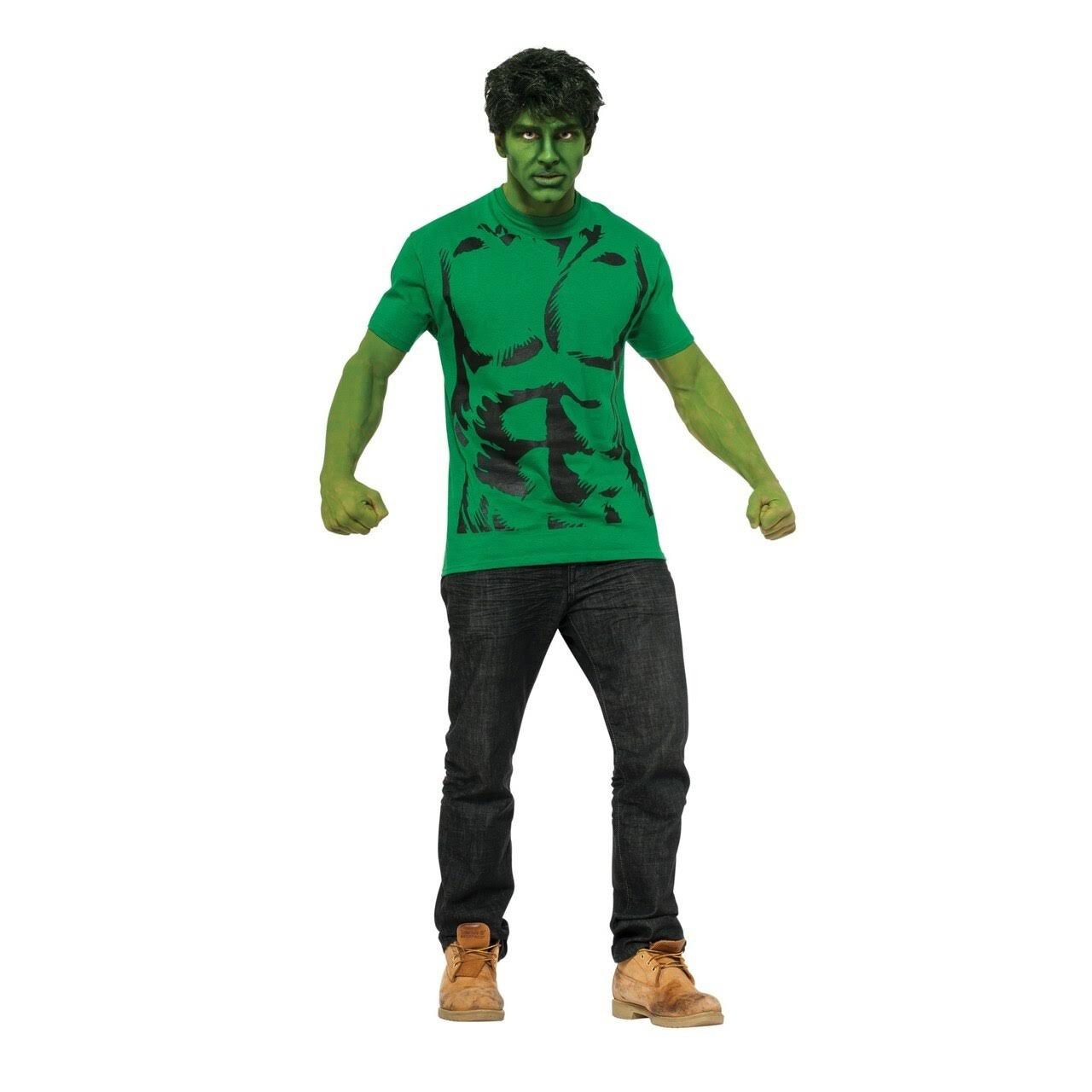 Marvel Hulk T-Shirt and Wig Adult Costume Medium