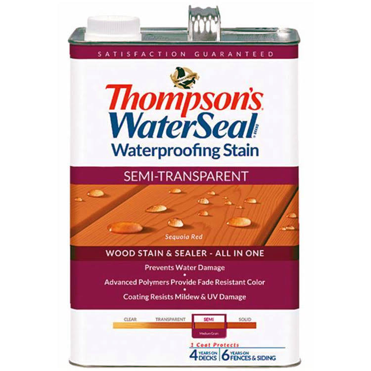Thompson's WaterSeal Semi Transparent Waterproofing Stain - Sequoia Red, 1gal