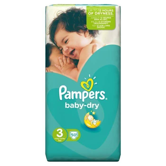 Pampers Baby-Dry Diapers - Size 3, 50 Pack