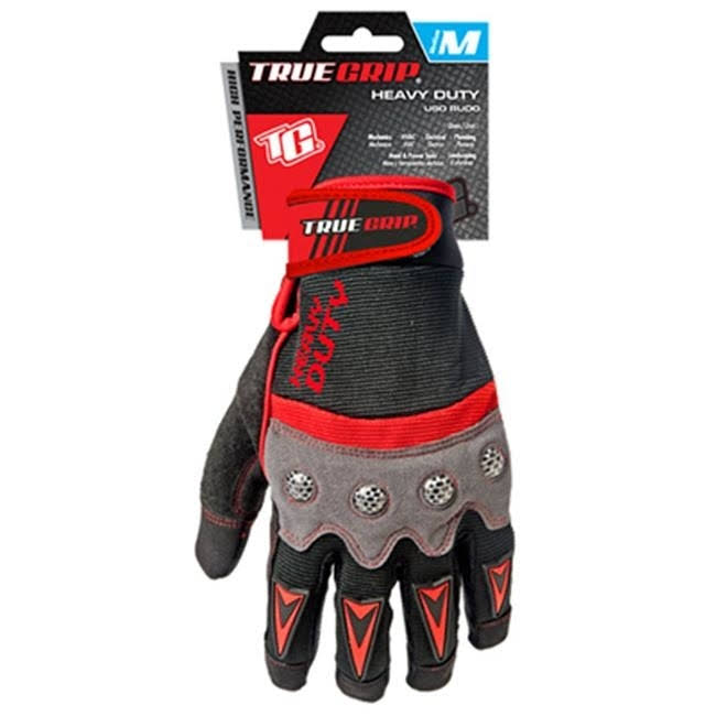 Big Time True Grip 9892-23 Heavy Duty Work Gloves - Medium, Red/Gray/Black
