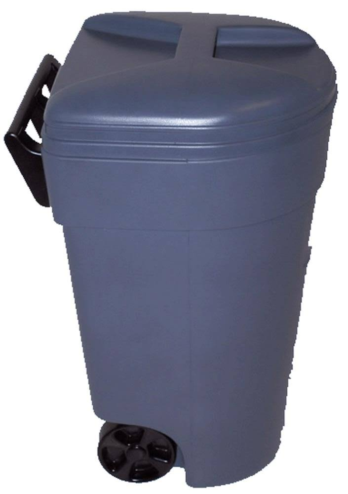 United Plastics Trash Can - with Wheels, 50 Gallon