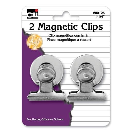 "Charles Leonard Co. Magnetic Spring Clip - 1.25"", 2ct"