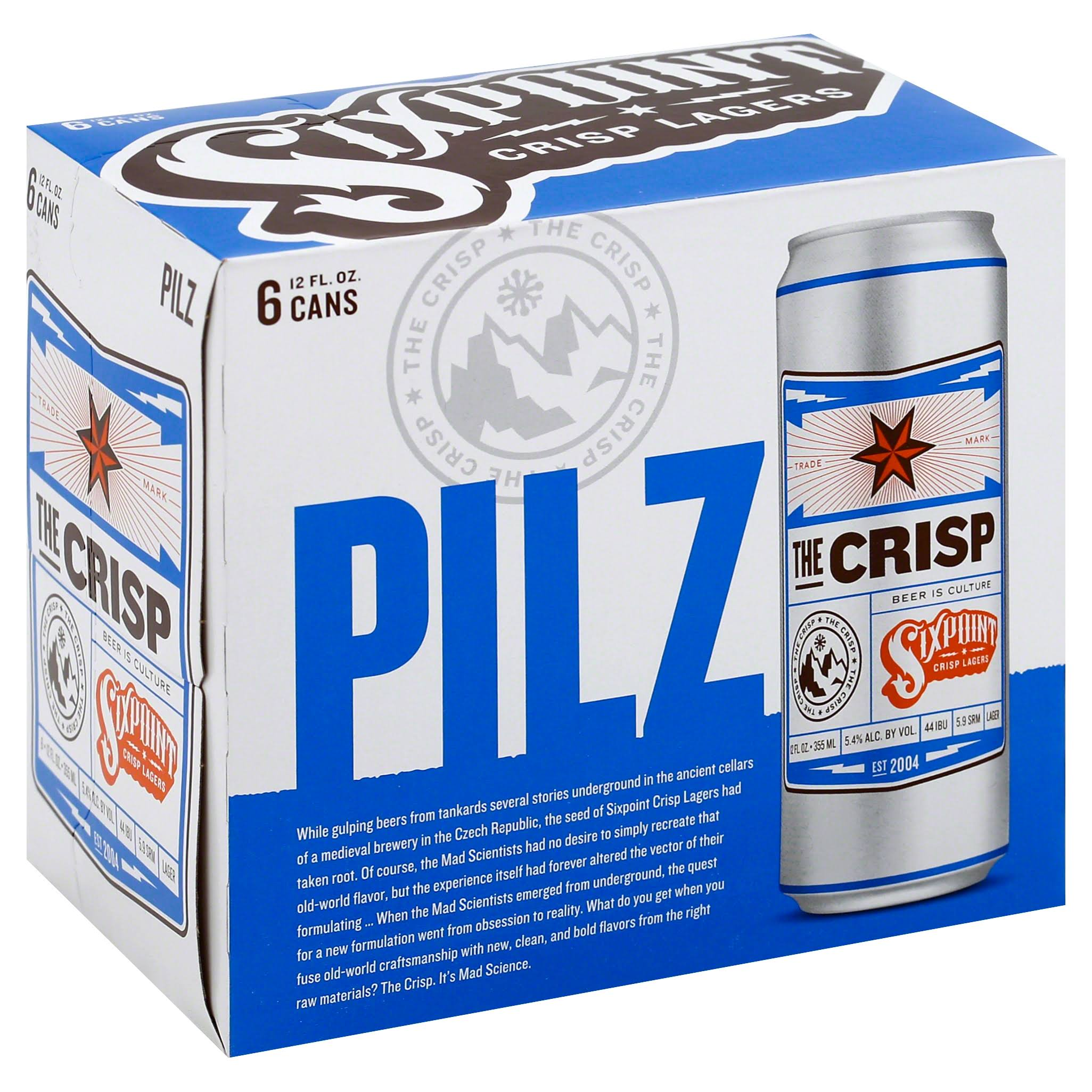 Sixpoint Beer, Pilz, The Crisp - 6 pack, 12 fl oz cans