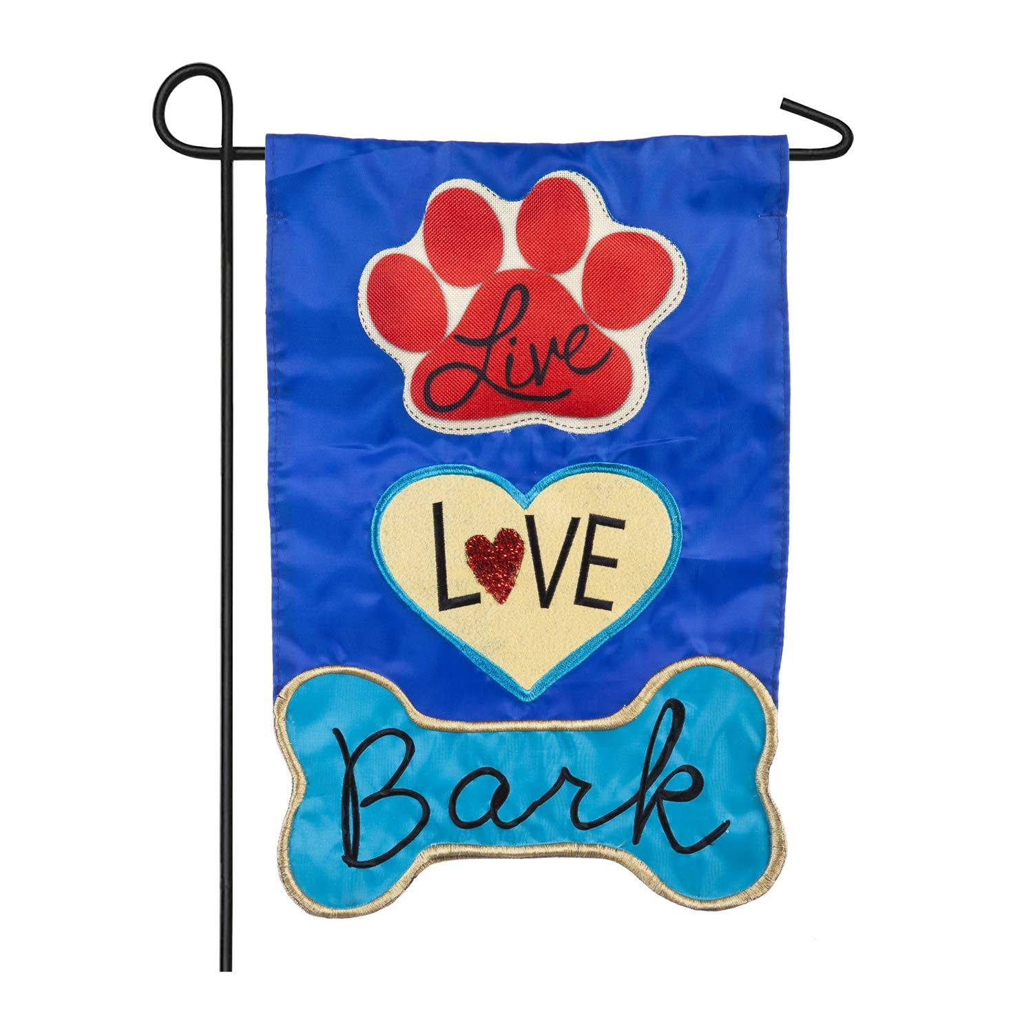 Evergreen Applique Garden Flag - Live Love Bark