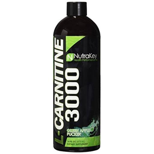Nutrakey Liquid L-Carnitine 3000 Nutritional Supplement - Green Apple Pucker, 16 fl oz