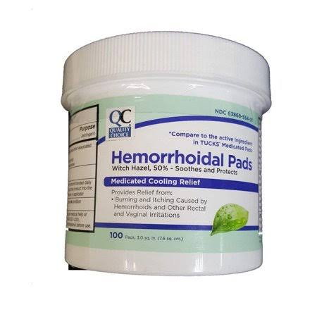 Quality Choice Hemorrhoidal Pads Medicated Cooling Relief - 100ct