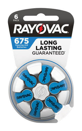 Rayovac Long Lasting Hearing Aid Battery Batteries - Size 675, 6ct