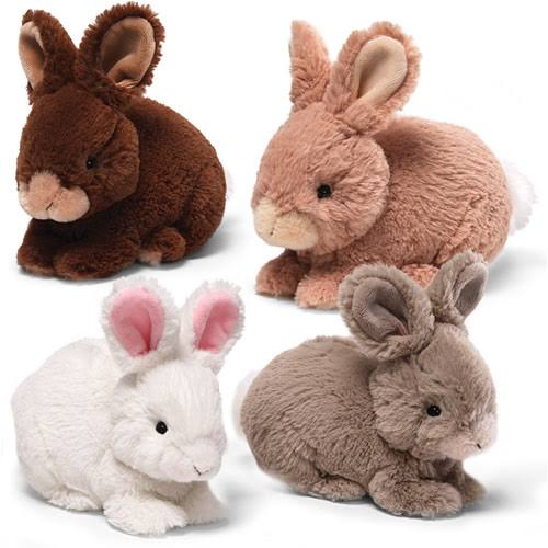 Lil Wispers Natural Bunny Plush Toy - Gray, 7""