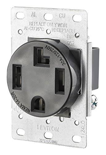 Leviton Industrial Flush Mount Shallow Single Outlet - Black, 30 Amp