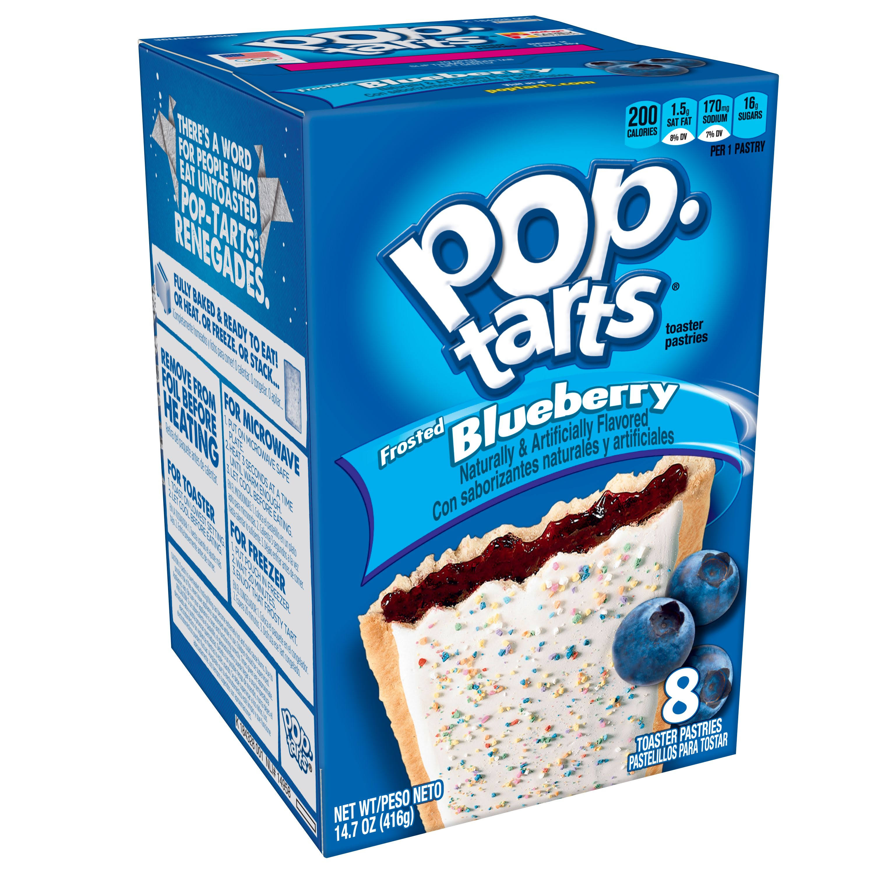 Kellogg's Pop Tarts - 416g, Frosted Blueberry, 8 Toaster Pastries