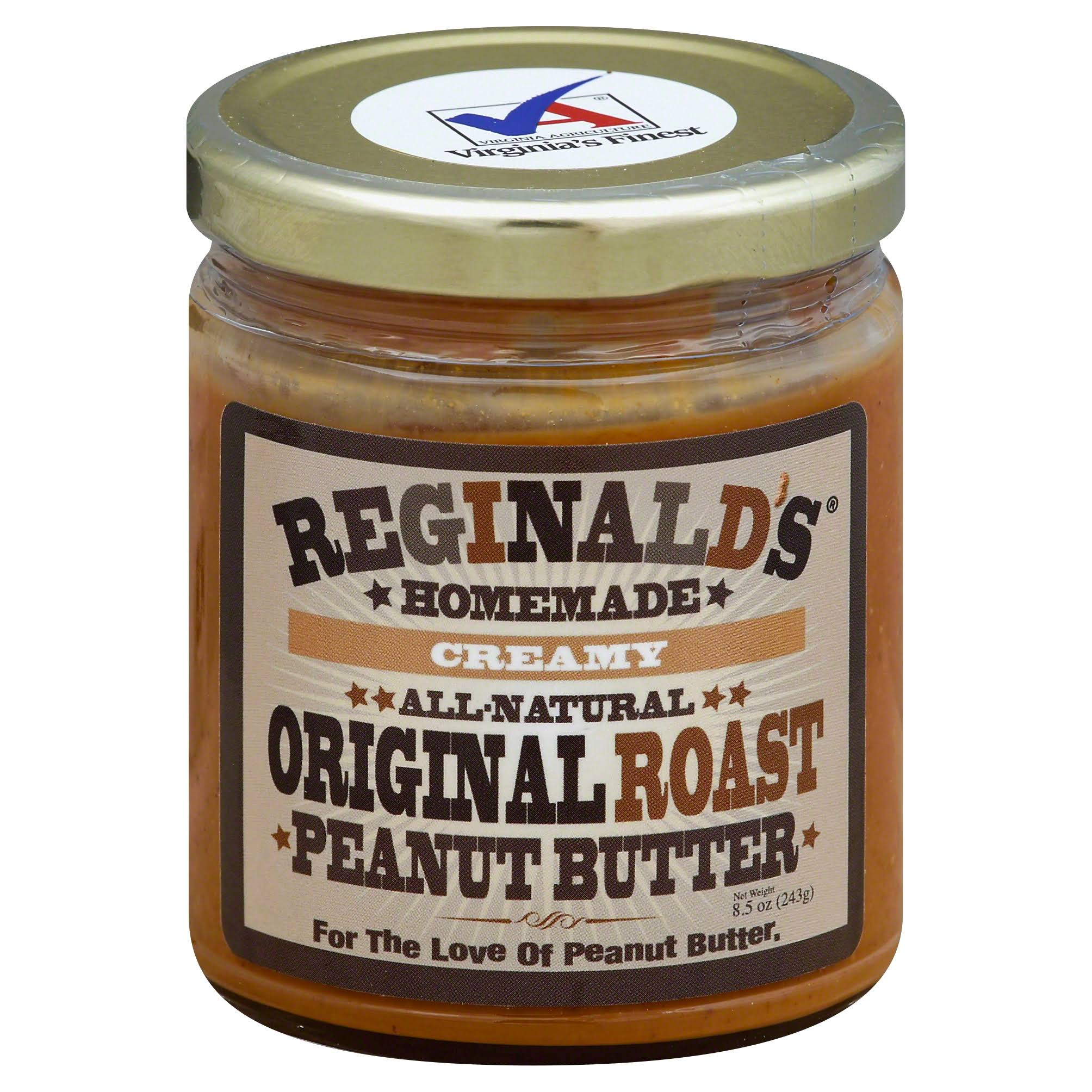 Reginalds Homemade Peanut Butter, Creamy, Original Roast - 8.5 oz