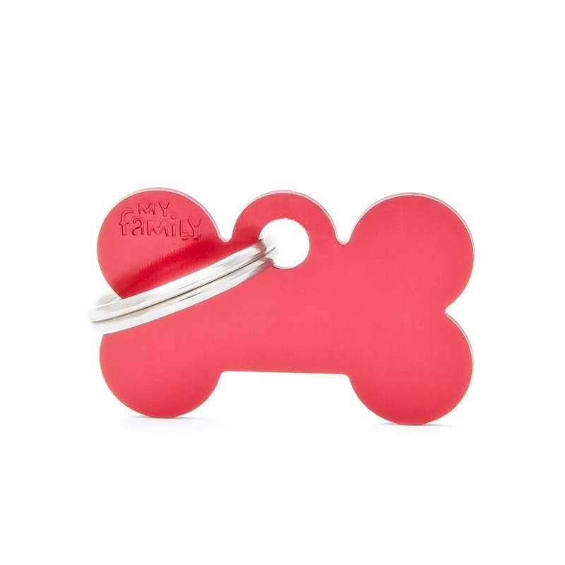 My Family Bone Small Alluminum Red ID Tag