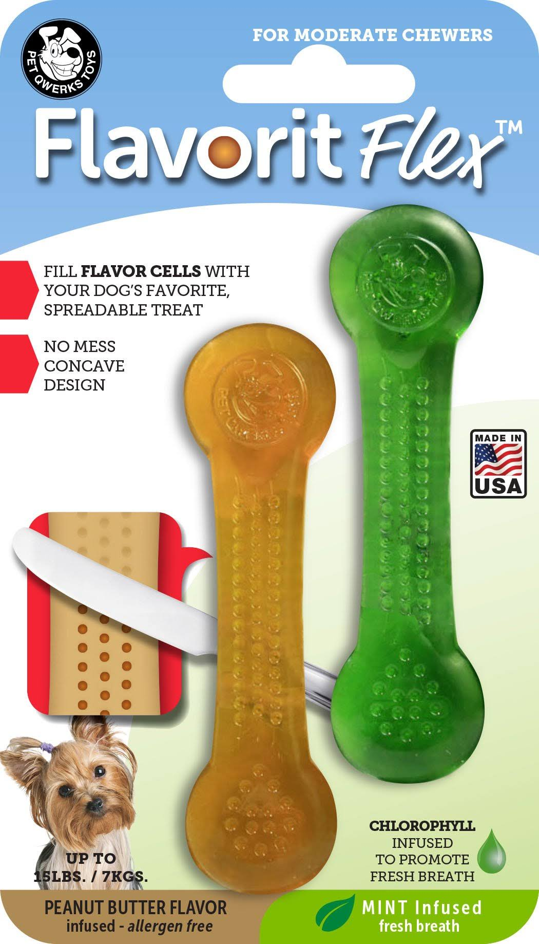 Pet Qwerks Flavorit Flex Bone - Mint/Peanut Butter, Small