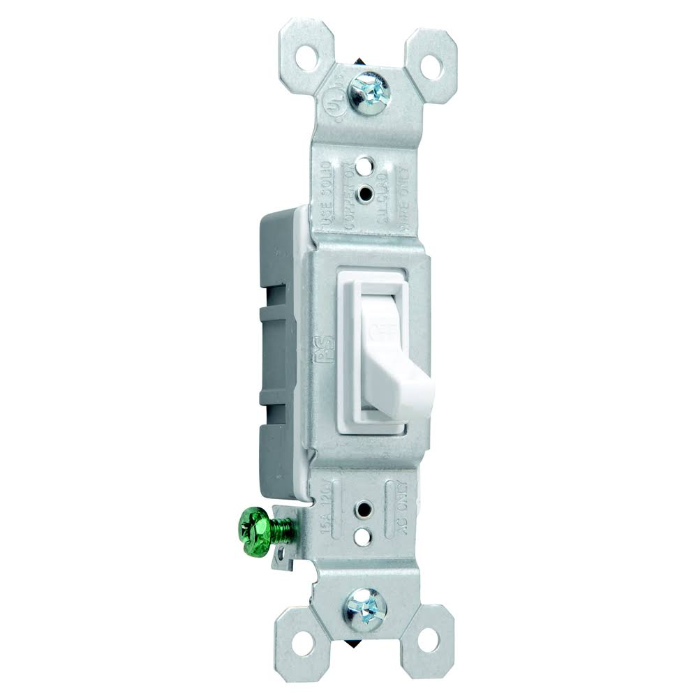 Pass & Seymour Light Switch - Single Pole, 15A, White