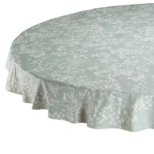 Lintex Sage Green Grapevine Vinyl Tablecloth (70 Round)