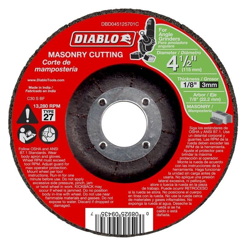 "Diablo Masonry Cutting Disc - with Type 27 Depressed Center, 4-1/2""x1/8""x7/8"""