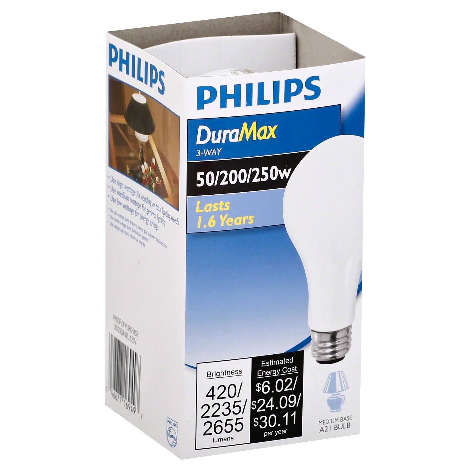 Philips DuraMax Long Life Light Bulb, 3-Way, 50/200/250 W