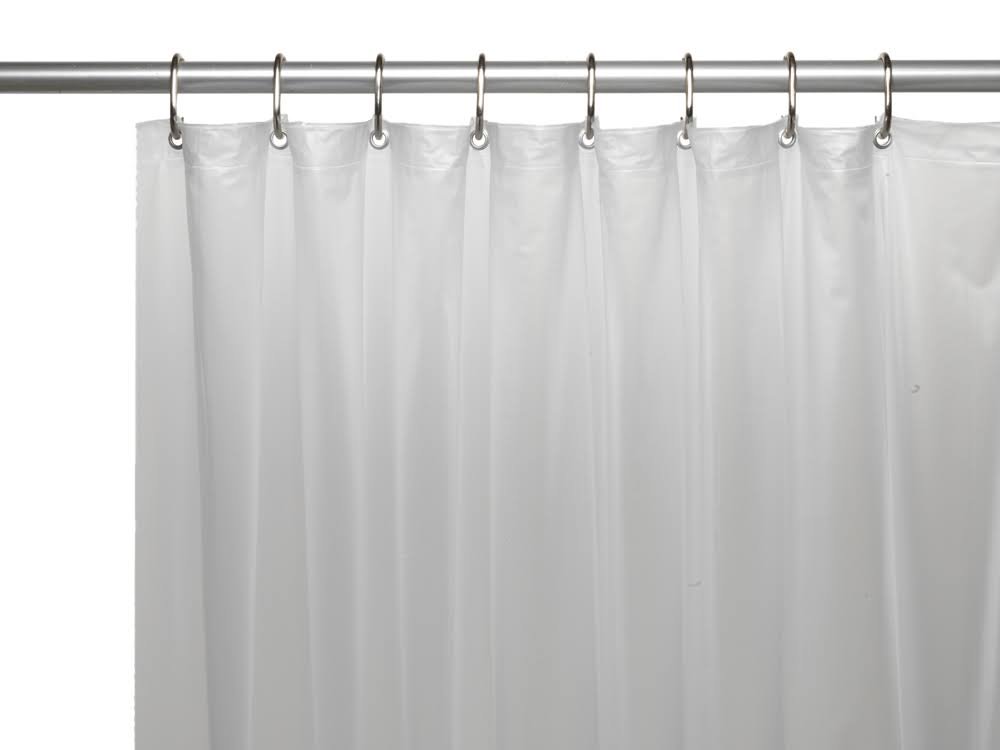 Carnation Home Hotel Collection, 8 Gauge Vinyl Shower Curtain Liner w/ Metal Grommets in Frosty Clear