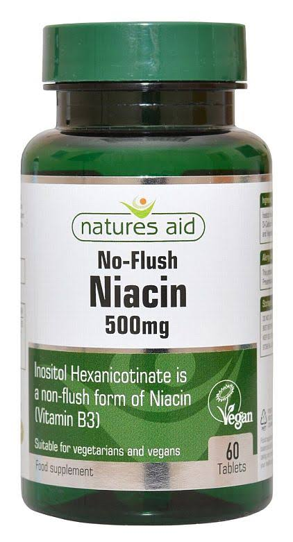 Natures Aid No Flush Niacin (B3) 500mg 60 Tablets