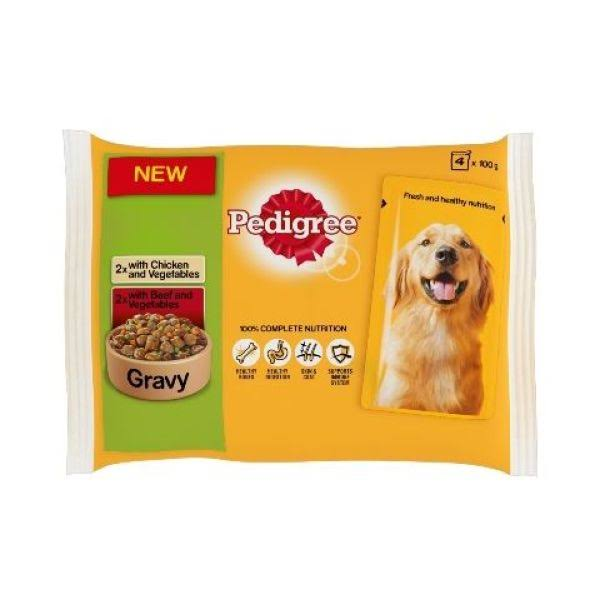 Pedigree Pouch Dog Food - Chicken/Beef and Vegetables in Gravy, x4