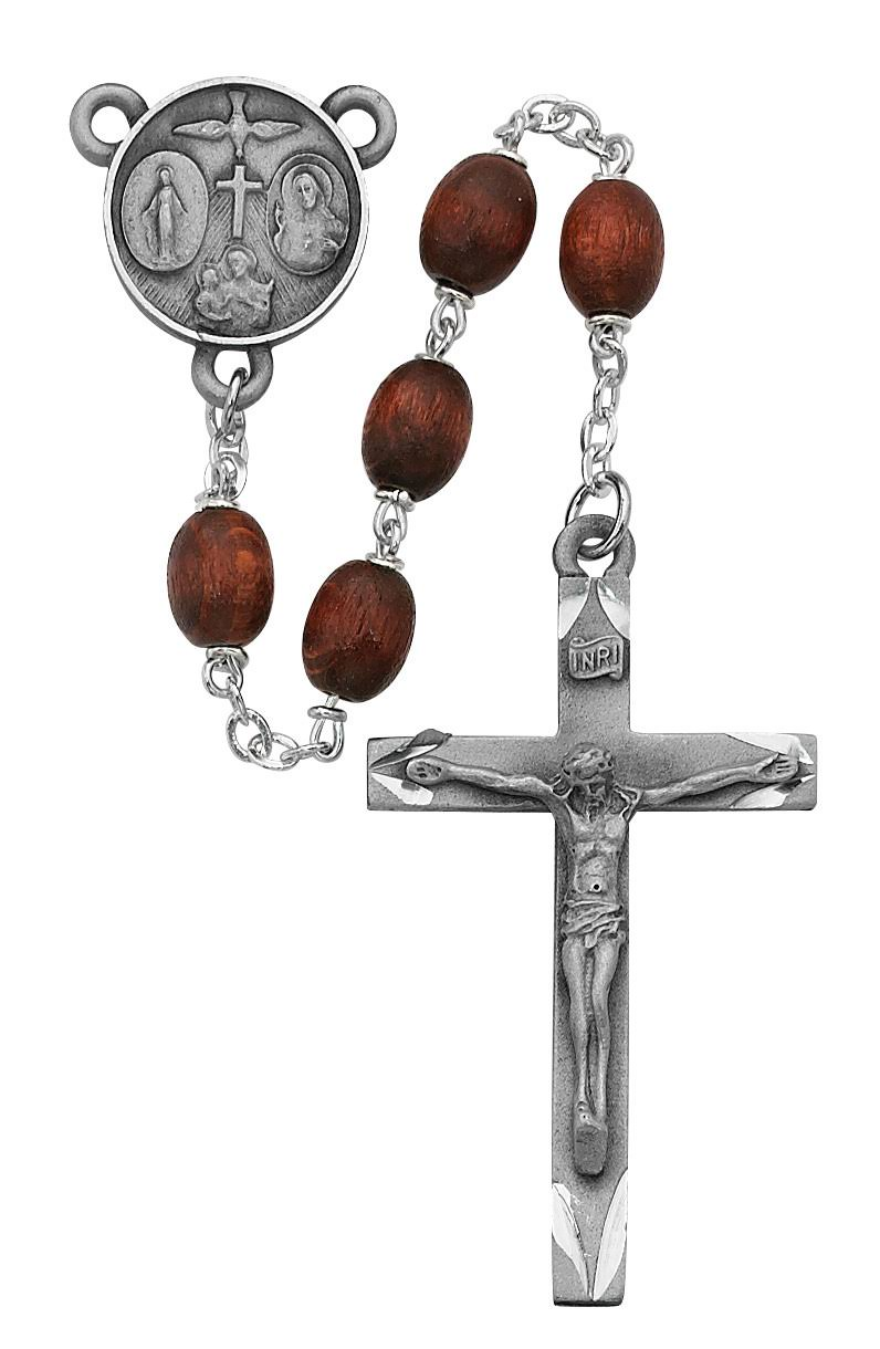 6x8mm Brown Wood Oval Rosary