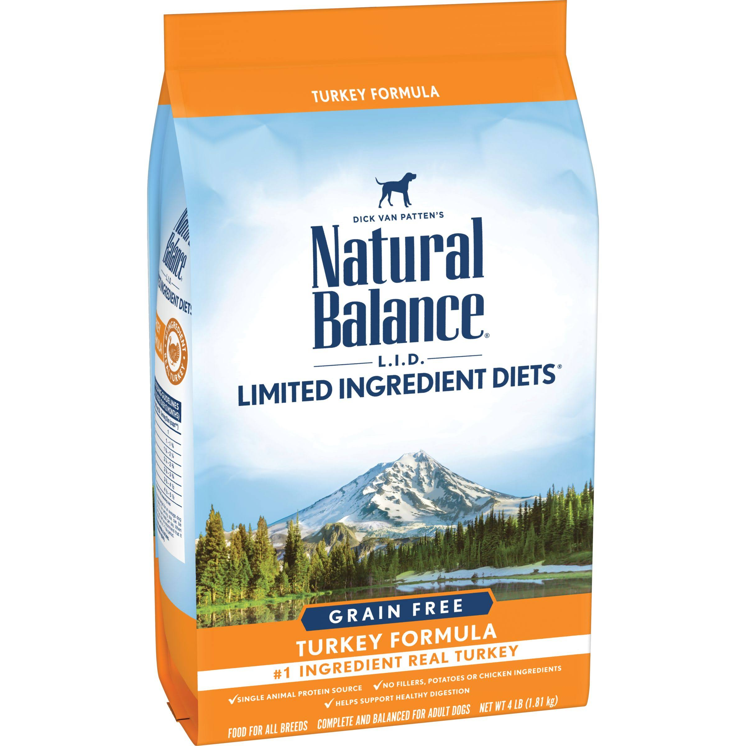 Natural Balance Limited Ingredient Diets High Protein Dry Dog Food - Turkey Formula, 4lbs