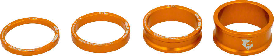 Wolf Tooth Components Headset Spacer Kit - 3mm/5mm/10mm/15mm, Orange