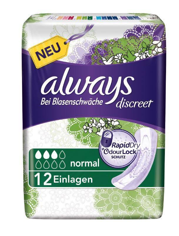 Always Discreet Incontinence Pads - Normal, for Sensitive Bladder, 12pk