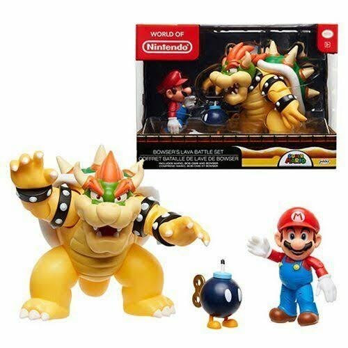 World of Nintendo New 2018 Mario vs. Bowser Diorama Gift Set - 3 Figure Pack
