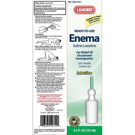 Leader Ready-to-use Enema Saline Laxative - 4.5oz