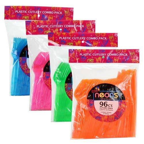 Party Dimensions 68556 Disposable Cutlery Set - Neon, 96ct