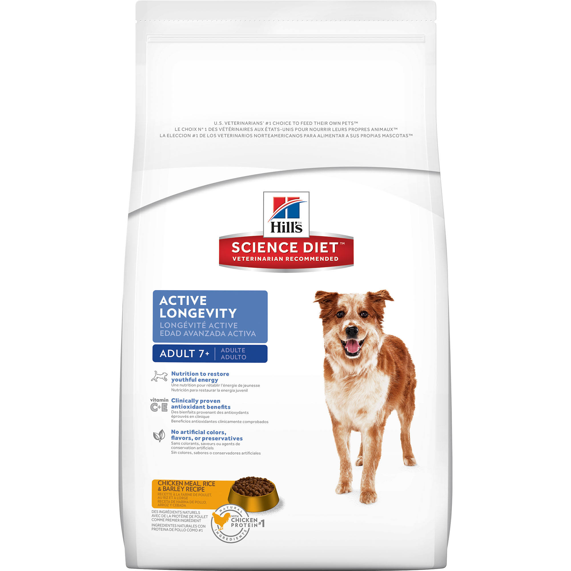 Hill's Science Diet Active Longevity Dog Food - Adult 7+, Chicken Meal Rice & Barley Recipe, 33lb
