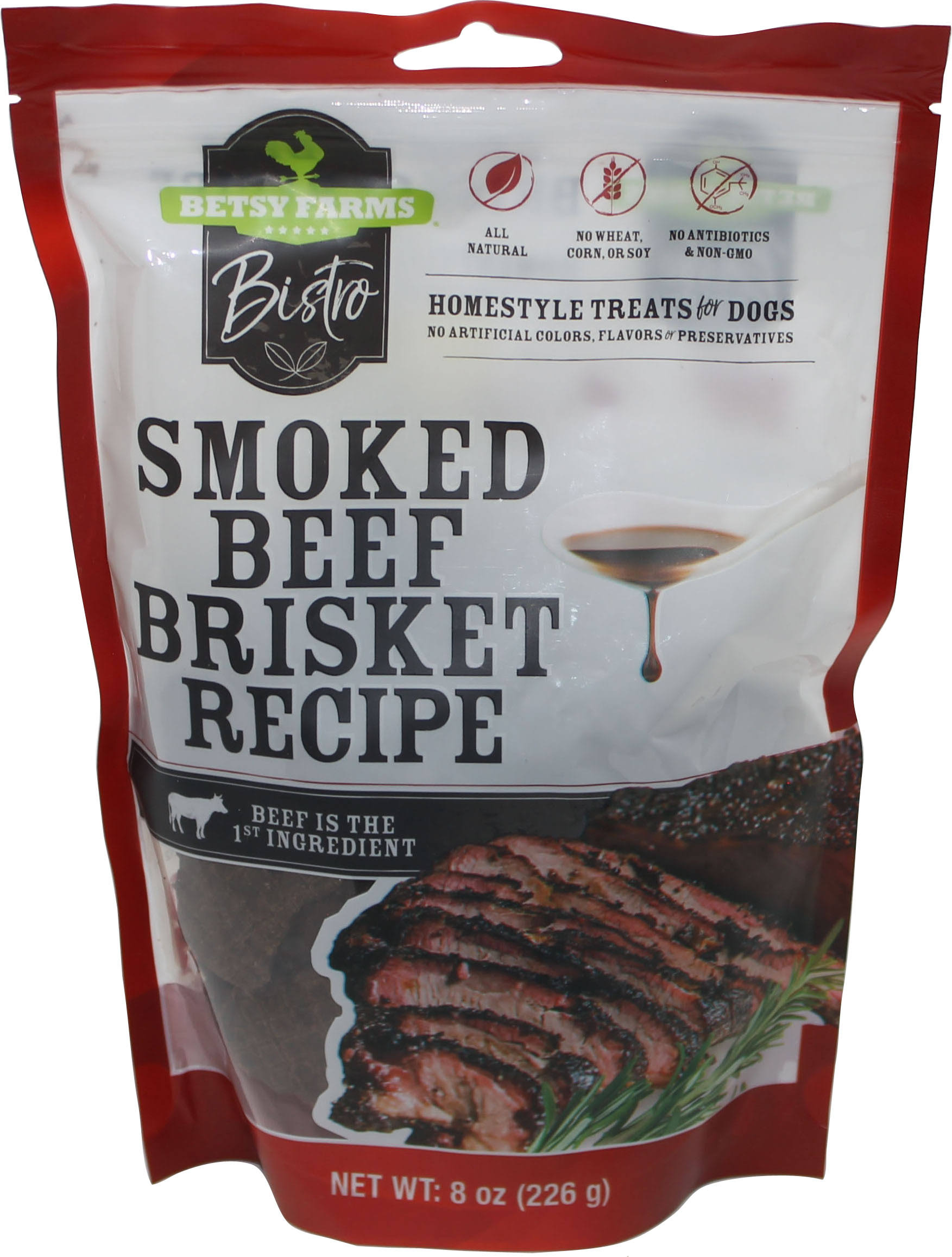 Betsy Farms Bistro Treats for Dogs, Homestyle, Smoked Beef Brisket Recipe - 8 oz
