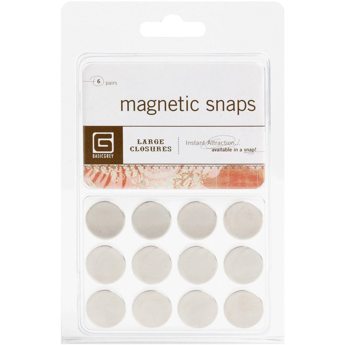 Basic Grey Magnetic Snaps - Large, 12 Pack