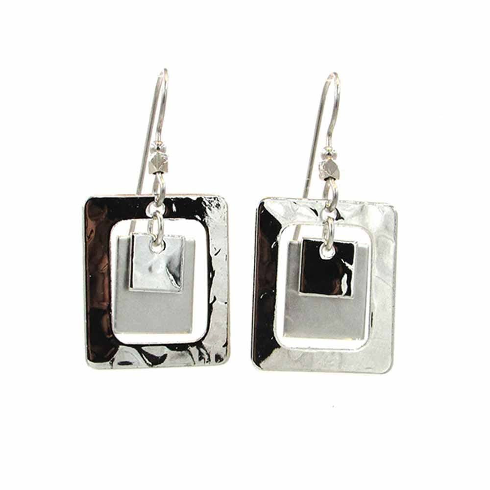 Silver Forest Hammered Triple Rectangle & Square Earrings