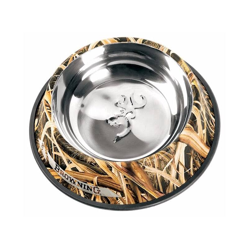 Browning Stainless Steel Pet Dish - Shadow Grass Blades, Large