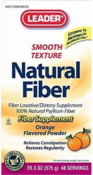 Leader Natural Fiber Supplement Powder - Orange, 20.3oz