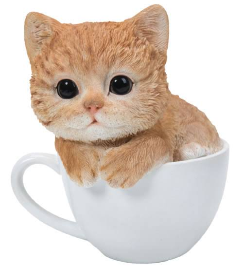 Natures Gallery Teacup Ginger Kitten Statue