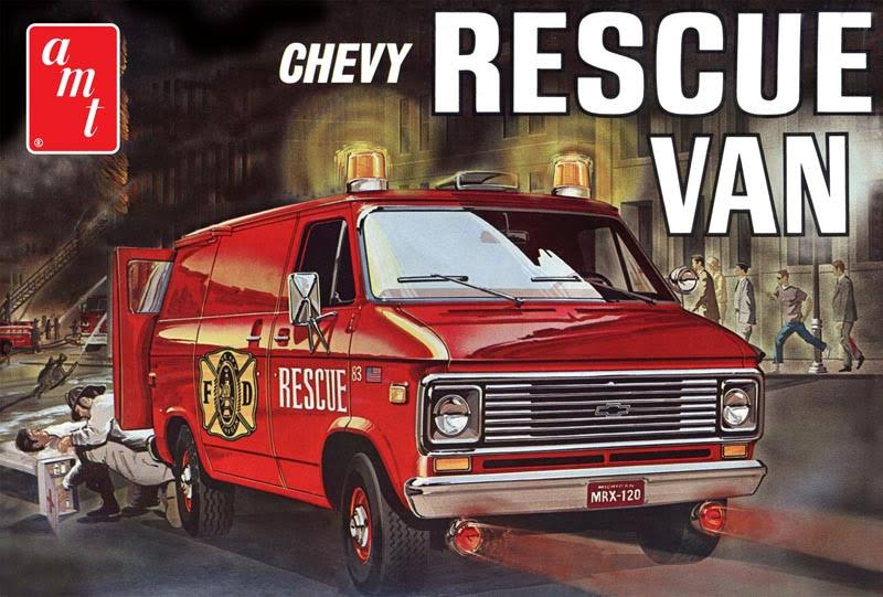 "AMT Plastic ""1975 Chevy"" Rescue Van Model Kit - Red, 1:25 Scale"
